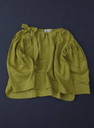 Young British Designers: BARCO LITHUANIAN LINEN BLOUSE. Chartreuse by Cawley
