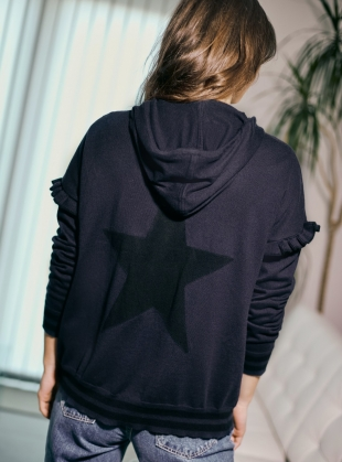 Young British Designers: ADELITA HOODIE. Neat Navy/Blacklead by LAM Clothing
