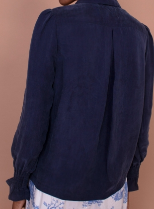 Young British Designers: MIMOSA SHIRT. Navy by Meadows