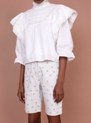 Young British Designers: BELLFLOWER TOP. White by Meadows
