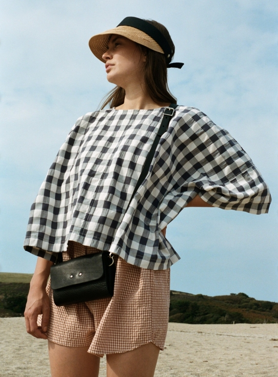 Young British Designers: EDIE Top. Black and White Gingham by Kate Sheridan