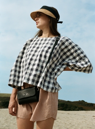 EDIE Top. Black and White Gingham by Kate Sheridan