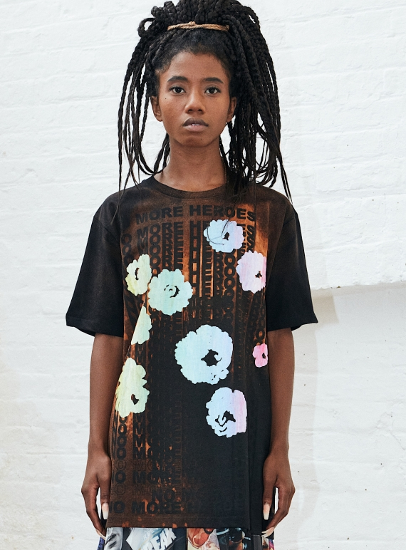 Young British Designers: No More Heroes. Black Flowers Tee by Simeon Farrar