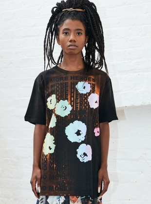 No More Heroes. Black Flowers Tee by Simeon Farrar