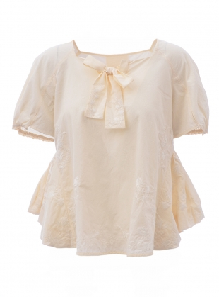 Washed Cotton Embroidered Top by Renli Su