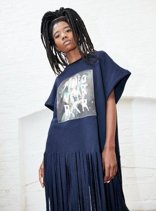 Navy SWEAT FRINGE DRESS by Simeon Farrar