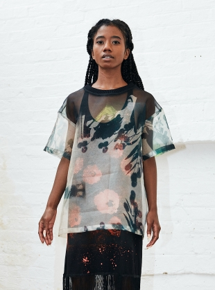 Young British Designers: OVERSIZED SUNLIT SHADOW ORGANZA TOP by Simeon Farrar