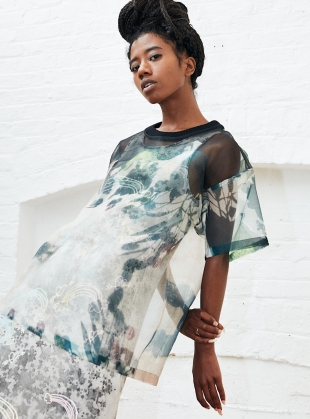 OVERSIZED SUNLIT SHADOW ORGANZA TOP by Simeon Farrar