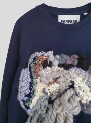 Young British Designers: Recycled & Organic Cotton Wool Patch Sweatshirt by Fanfare Label