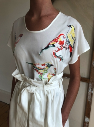 LUXE TEE. White Love Birds by Tallulah & Hope