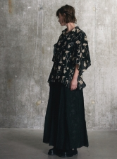 Floral Cape Sleeve SHIRT. Black/Yellow - Last one (XS)