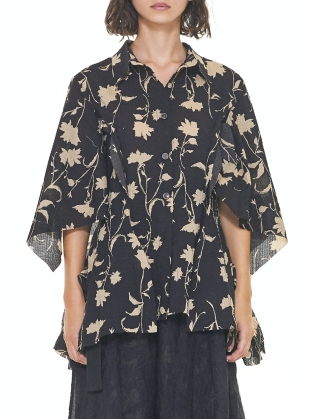 Young British Designers: Floral Cape Sleeve SHIRT. Black/Yellow by WEN PAN