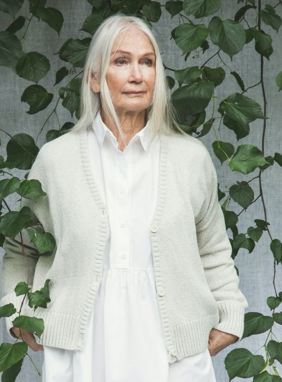 Young British Designers: CHARIS RECYCLED KNIT CARDIGAN. Ivory by Beaumont Organic