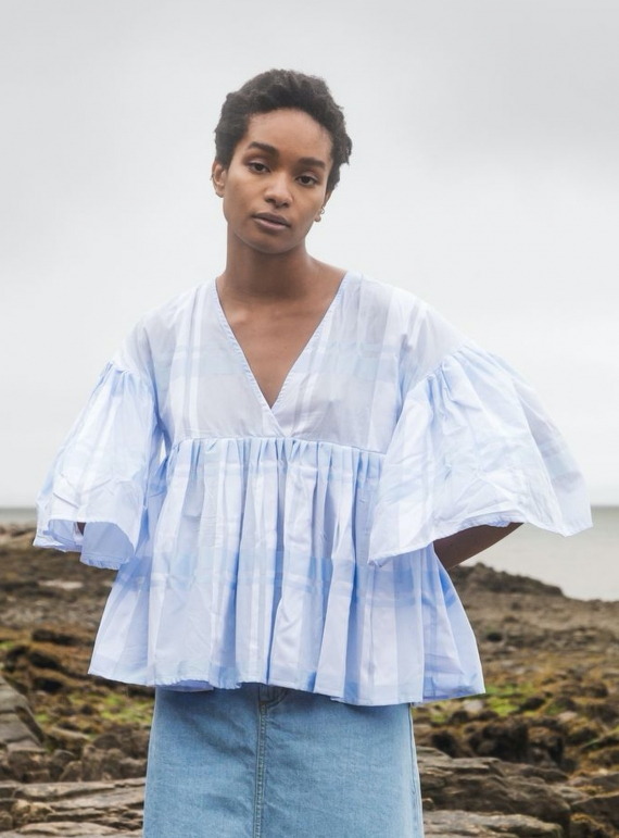 Young British Designers: KITTY Pale Blue Check ORGANIC COTTON TOP by Beaumont Organic