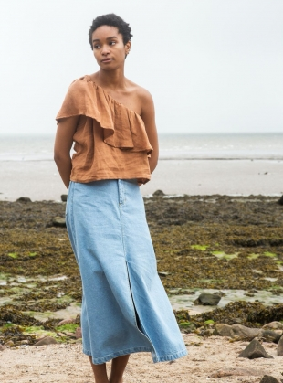 Young British Designers: ISABELLE TAN LINEN ONE-SHOULDER TOP by Beaumont Organic