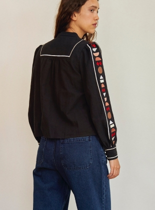 Young British Designers: SMOKE SHIRT. Black with Embroidery by SIDELINE