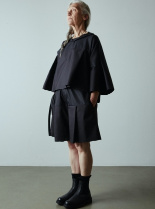 TURN OVER SHIRT TOP. Black by Phoebe English