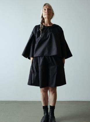 Young British Designers: TURN OVER SHIRT TOP. Black by Phoebe English