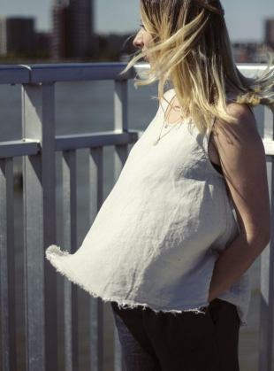 Young British Designers: 100% LINEN Natural White SUMMER TOP by Lemuel MC