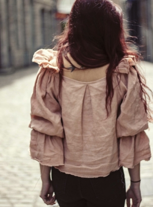 Young British Designers: ROSALIND LINEN PEACHY PINK TOP by Lemuel MC