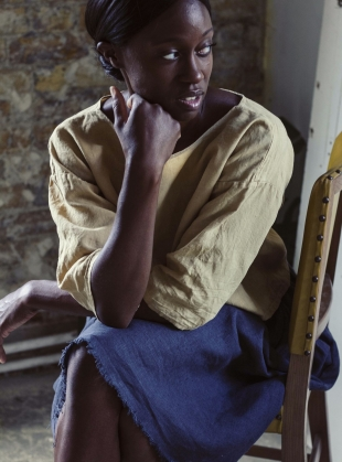 Young British Designers: SOFTENED SAND 100% LINEN T-TOP by Lemuel MC