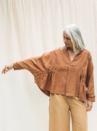 XIMENA-MAY ORGANIC COTTON AND LINEN TOP. Tan by Beaumont Organic